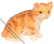 Miniature Orange Sitting Kitten for Dollhouses