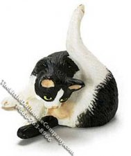 Dollhouse Scale Model Black & White Cat Preening