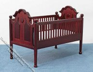 Miniature Mahogany Crib with Blue Linen for Dollhouses