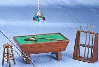 Miniature Walnut Pool Table Set for Dollhouses