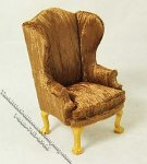 Miniature Golden Brown Wing Chair for Dollhouses