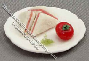 Miniature Triangle Sandwiches on a Plate for Dollhouses