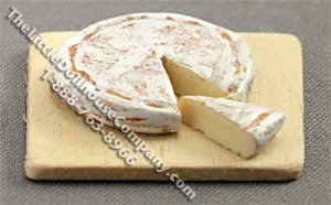 Dollhouse 1/2 Scale Model Brie Cheese on Cutting Board