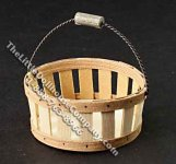 Miniature Round Basket with Wire Handle for Dollhouses