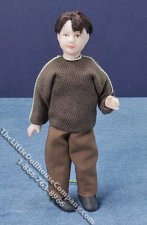 Miniature Child in Brown Sweater and Pants by Cindy's Dolls