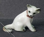 Miniature Sitting White Cat Statuette for Dollhouses