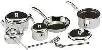 Miniature Silver Coloured 10 Piece Cookware Set for Dollhouses