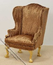 Miniature Brown Plush Wing Chair for Dollhouses