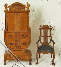 Miniature Walnut Secretary Desk and Chair Set for Dollhouses