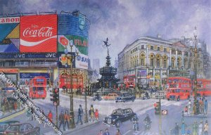 Piccadilly Circus Scene Miniature Mural for Dollhouses