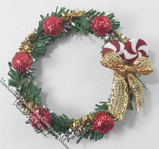 Miniature Wreath with Gold Bow & Red Ornaments for Dollhouses