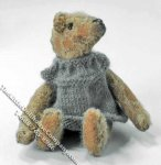 Miniature Victorian Teddy Bear in a Gray Dress for Dollhouses