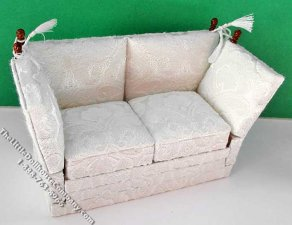 Miniature White Knoll Walnut Settee for Dollhouses