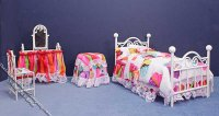 Miniature White Metal Colourful Bedroom Set by Serena Johnson