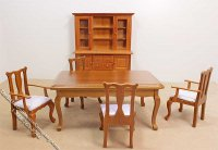 Miniature 6 Piece Walnut Dining Room Set for Dollhouses