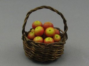 Dollhouse Scale Model Round Basket with Apples
