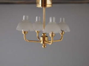 Dollhouse Scale Model Battery Operated 4-Arm Ceiling Lamp