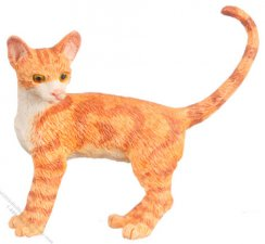 Dollhouse Scale Model Walking Orange Cat