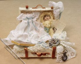 Miniature Child's Suitcase by Danielle Design for Dollhouses