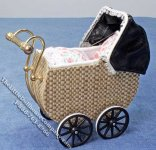 Miniature Faux Wicker Baby Pram by Heidi Ott for Dollhouses