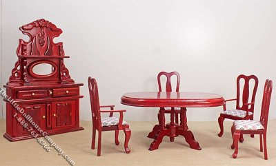 Laser cut Dollhouse KITCHEN TABLE with chairs Miniature Doll house furniture