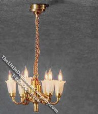 Dollhouse 1/2 Scale Model 12 Volt 6-Arm Tulip Shade Chandelier