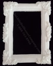 Miniature White Rectangular Baroque Frame