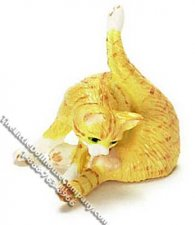 Dollhouse Scale Model Orange Cat Preening