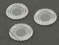 Miniature Crystal Clear Lace-Edged Plates For Dollhouses