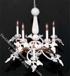 Dollhouse Scale Model Rose White Chandelier