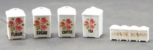 Miniature Set of 4 Canisters with Lids & Molded Set of Spice Jar