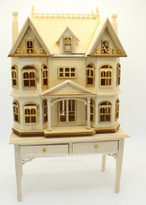 Miniature Unfinished 1:144 Scale Dollhouse on Table
