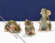 Dollhouse Scale Model Brown Mice (3/pk)