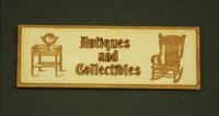 "Dollhouse Miniature Wood Plaque - ""Antiques and Collectibles"""