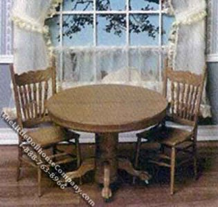 Miniature Round Table and Chair Kit for Dollhouses