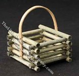 Miniature Square Stacked Wood Basket for Dollhouses