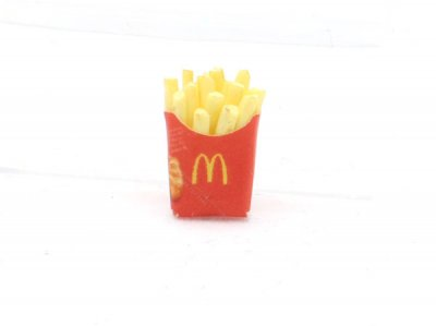 Dollhouse Miniatures White Plastic Tray of French Fries Potato Chip Food Snack