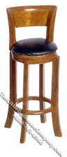 Miniature Tall Walnut Stool w/Padded Seat for Dollhouses