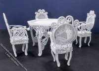 Miniature Wire Wicker 5 Piece Garden Set for Dollhouses