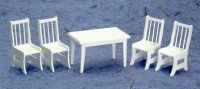 Dollhouse Miniature White Kitchen Table and Chairs