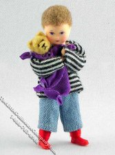 Nico Flexible Boy Doll w/Teddy Bear by Erna Meyer for Dollhouses