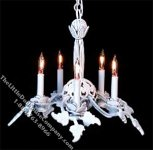 Dollhouse Scale Model White Rosette Chandelier