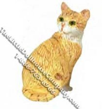 Dollhouse Scale Model Orange Cat Looking Back