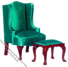 Miniature Green Queen Anne Wing Chair & Ottoman for Dollhouses
