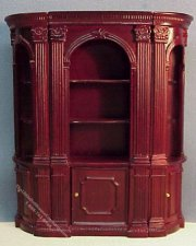 Miniature Mahogany Bookcase Unit For Dollhouses