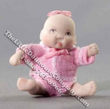 Miniature Sitting Baby Doll by Patsy Thomas for Dollhouses