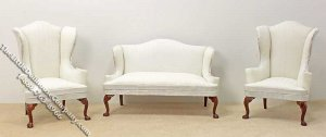 Miniature White Sofa & Two Wing Chairs Set for Dollhouses