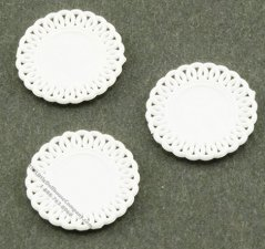 Miniature White Lace-Edged Plates For Dollhouses