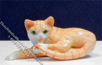 Dollhouse Scale Model Orange Striped Curled Up Cat
