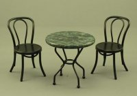Dollhouse Miniature Black, Marble Garden Furniture Set
